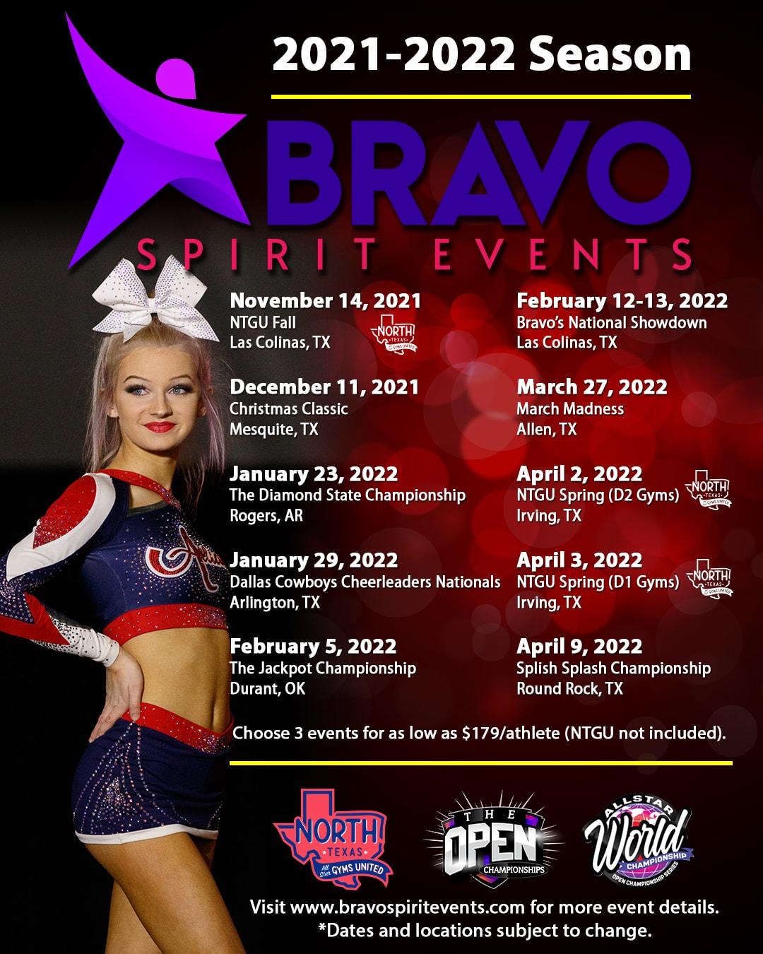 Bravo Spirit Event 2021-2022 Schedule